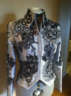 Get on The Rail Designs, Western horse show clothing, Western pleasure jacket, silver overlay jacket