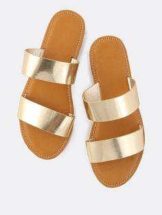11a1f966b Shop Metallic Duo Strap Sandals GOLD online. SheIn offers Metallic Duo  Strap Sandals GOLD