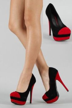 £34.99  Shoehorne Paulette41 - Womens Red & Black Suede two tone Stiletto Hidden Platform High Heeled Court Shoes Pumps - Avail in Ladies Size 4-9 UK: Amazon.co.uk: Shoes & Accessories