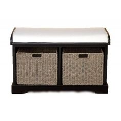 Click here to enlarge or zoom image | The Wood Bench W Cushion And 2 Hamper Baskets