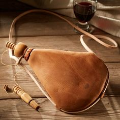 Premium Bota Wineskin with Wooden Spout - Easy-Care Latex Liner Medieval World, Leather Workshop, Bottle Bag, Water Bottle, Belt Pouch, Accessories Store, Leather Working, Leather Craft, Leather Men