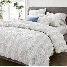 Relax in the rich texture of our Organic Cotton Striped Pintuck Duvet Cover & Shams. Delicate pintuck stitches yield fluffy volume, while the black striped motif is an easy way to add character to your bedding. As a Fair Trade Certified& Boho Duvet Cover, Full Duvet Cover, Bed Duvet Covers, Quilt Cover, Textured Duvet Cover, Textured Bedding, Comforter Sets, Marble Duvet Cover, Modern Duvet Covers