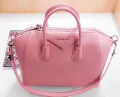 Antigona Small Sugar Goatskin Satchel Bag, Light Pink by Givenchy Fall Handbags, Purses And Handbags, Ladies Handbags, Pink Handbags, Gucci, Fendi, Ysl, Sacs Design, Givenchy Antigona