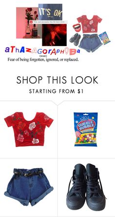 """""""spineless and scarlet red"""" by s8tan ❤ liked on Polyvore featuring INDIE HAIR and Converse"""