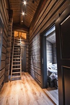 // Cocooning chalet // martine Haddouche I like the trim around the door with this paneling Cabin Homes, Log Homes, Norway House, Scandinavian Cabin, Chalet Interior, Log Cabin Living, Mountain Cottage, Winter Cabin, Cabin Interiors