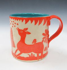 Pottery SGRAFFITO MUG Ceramic Artist-Made - DEER & Landscape Carved Design - Folk Art - Can be Personalized! - Stoneware Pottery by TheClayBungalow on Etsy https://www.etsy.com/listing/109620761/pottery-sgraffito-mug-ceramic-artist