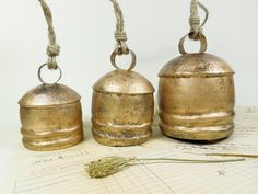 Set of 3 Big Vintage round copper coated Mug Cow Bell Indian Swiss Cloche Rustic clapper gold rusty clinging door knocker windchime  https://www.etsy.com/listing/463532967/set-of-3-big-vintage-round-copper-coated?ref=listing-shop-header-1
