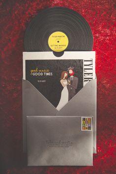 rock n roll wedding invitations - music Photography Credit: Echard Wheeler Photography