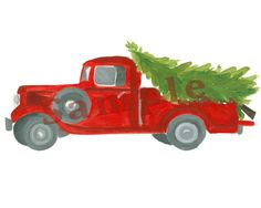 8x10 Christmas Printable Decor Vintage Truck by theblueberryvine