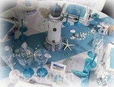 decoration de table mariage baptême ou anniversaire sur le thème turquoise blanc marin et mer