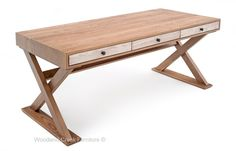 Solid Hardwood Desk in a Modern Rustic Design. Available custom sizes by Woodland Creek.