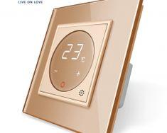 Dotykový digitálny termostat s možnosťou ovládania elektrických vykurovacích okruhov v zlatej farbe Smart Home, Mp3 Player, Retro, Luxury, Smart House, Retro Illustration