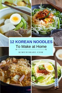 Korean noodles that you can make at home, from cold noodles and noodle salads for summer days to classic favorites like japchae and easy ramen fixes. Korean Dishes, Korean Food, Asian Recipes, Healthy Recipes, Ethnic Recipes, Indonesian Recipes, Orange Recipes, Kitchen Recipes, Cooking Recipes