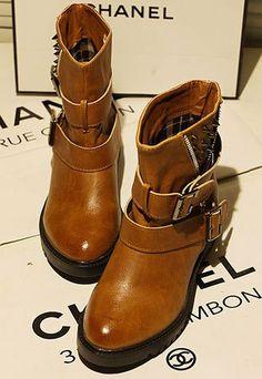 Cool British Style Rivet Zip Boot um yes?