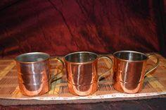 "3 Copper Coffee Cups w/ Brass Handles 4 1/4""x3 1/8"""