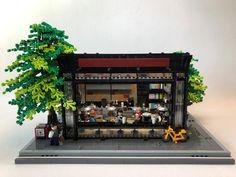 Book Cafe in Early Summer - Lego - Lego Tree House, Lego Sculptures, Lego City Sets, Lego Boards, Lego Craft, Lego Store, Lego Mecha, Lego Modular, Book Cafe