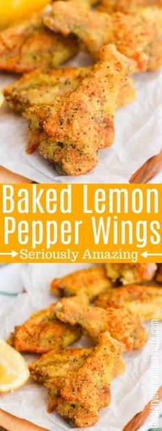 Baked Lemon Pepper Wings, Lemon Pepper Chicken Wings Recipe Oven, Lemon Peper Wings, Lemon Peper Chicken, Lemon Pepper Sauce, Baked Chicken Recipes, Recipe Chicken, Crispy Baked Chicken Wings, Baked Wings Recipe