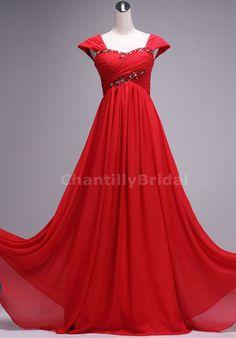 A-line Sweetheart-neck Cap Sleeveless Floor-length Red Chiffon