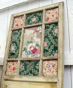 Vintage wallpaper old window art, by Mitzi's Miscellany, featured on www.ilovethatjunk...