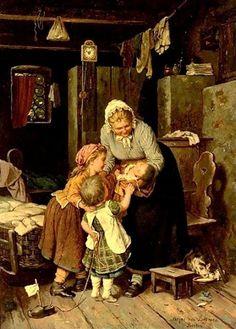The New Baby by German artist, Johann Georg Meyer von Bremen – Classic Paintings, Old Paintings, Paintings I Love, Beautiful Paintings, Art Ancien, Illustration Art, Illustrations, Love Art, Oeuvre D'art