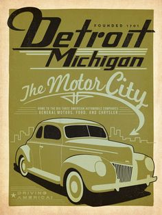 """Detroit: Print Shop - <span style=""""color: rgb(153, 51, 0);""""><span style=""""font-weight: bold;"""">NEW</span></span><span style=""""font-weight: bold;"""">Print Shop Poster Series</span><br /> <br /> <b>Detroit, Michigan:</b>  The Print Shop Series features poster art created in limited color palettes commonly used by 19th & 20th Century letterpress print shops. These original prints are inspired by classic travel posters from the 1920s to the 1940s that celebrated"""