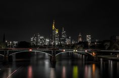 Frankfurt Skyline by Manuel Frankfurt, Opera House, New York Skyline, Germany, Cityscapes, Building, Places, Travel, Night