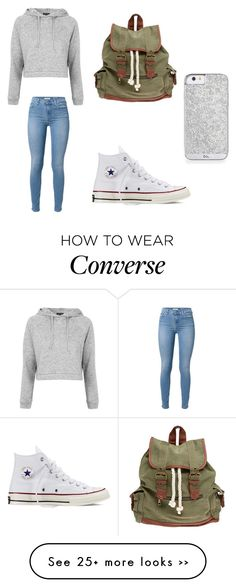"""Outfit 270"" by girlychic1114 on Polyvore featuring Topshop, 7 For All Mankind, Converse and Wet Seal"