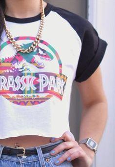 VINTAGE RETRO JURASSIC PARK BASEBALL CROP TOP T-SHIRT WANT SO HARD
