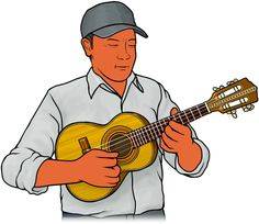 Picture of musical instruments / playing the cavaquinho / (Brazil , Latin America)