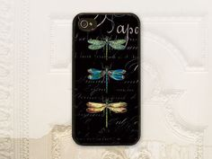 Dragonfly cell phone case, iPhone 4 4s, iPhone 5 5s, Galaxy S3, Vintage dragonflies, Black script, Shabby Cottage chic, Dragon fly cover