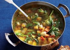 Root Veggie Chowder with Collard Ribbons
