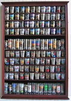Shot glass display case. I NEED this! My obsession is getting a shot glass wherever I travel somewhere.