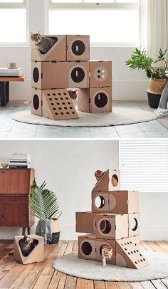 Uma coleção de móveis modulados feitos de papelão para gatos - Ideias Diferentes