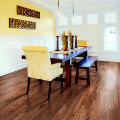 Yellow walls, a bench style dining room table and PERGO Max Gunstock Oak hardwood floor make this room ready for any dinner party! Dining Room Table, Wood Table, Dining Chairs, Engineered Hardwood Flooring, Hardwood Floors, Oak Flooring, Yellow Walls, Family Room, Bench