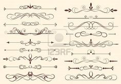 set of design elements in vintage style vectorized