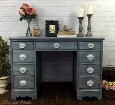So in love with this color, and the finish! A beautiful desk made over with fresh paint. In love!