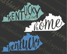 Kentucky Decal, Kentucky Girl, Home or Kentucky inside the state shape by DebbieDoodleDesigns on Etsy