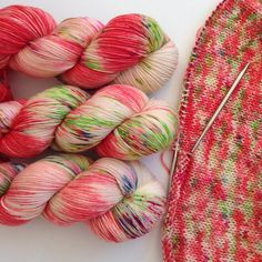 Christmas with Unicorns. Hand painted yarn. Hand Dyed speckled