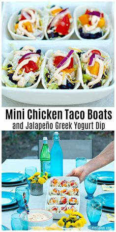 Super easy Mini Chicken Taco Boats and Jalapeño Greek Yogurt Dip are a delicious appetizer for a party or a quick for a family night meal. via Reluctant Entertainer® Mexican Appetizers, Yummy Appetizers, Mexican Food Recipes, Appetizer Recipes, Snack Recipes, Delicious Recipes, Mexican Dishes, Cheese Recipes, Chicken Recipes