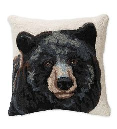 Hand-Hooked Wool Pillow with Bear | PlowHearth