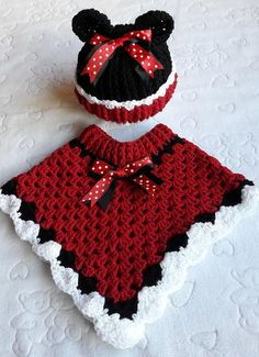 Beautiful hand crochet poncho and hat in minni mouse coloured red black and white.size Beautiful hand crochet poncho and hat in minni mouse coloured red black and white. Crochet Baby Poncho, Crochet Poncho Patterns, Baby Girl Crochet, Crochet Baby Clothes, Baby Knitting Patterns, Crochet For Kids, Crochet Shawl, Hand Crochet, Knit Crochet