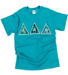 Turquoise blue rhapsody vera bradley tri delta lettered shirts