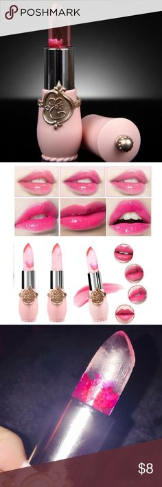 ETUDE HOUSE JELLY FLOWER 🌺 LIPSTICK JELLY gloss by etude house with real flower inside. This product has been swatched once. Condition = 9.9/10. Clear gloss goes on and turns a different shade of bubble gum pink based on your lip pH. Cult k beauty product. No trades. Etude House Makeup