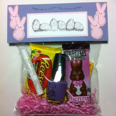 Easter treat I made for my friend. Used a large cellophane bag, placed paper basket filler in the bottom, filled with gum candy lip balm and nail polish.  I then stapled the top and made a topper by folding in half a 7 x 5 1/2 piece of card stock and decorated it. Very easy !!!