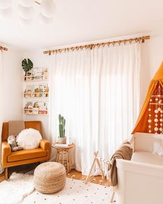 Baby Boy Nursery Room İdeas 467881848789461780 - Desert inspired baby nursery with white curtains, brown wicker pouf, orange accent chair, and white changing table Boho Nursery, Girl Nursery, Nursery Decor, Bedroom Decor, Curtains In Nursery, Nursery Room Ideas, Nursery Storage, Nautical Nursery, Project Nursery