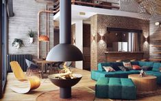 28 ideas para decorar salones con chimeneas modernas de tiro visto