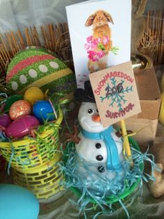 """Easter Shipping Window features """"I survived Snowmageddon AniMail Snowman! Store Windows, I Survived, Snowman, Easter, Sign, Creative, Display Cases, Easter Activities, Signs"""