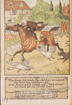 Randolph Caldecott, John Gilpin s Ride, Horse, Geese, Dogs, postcard, unposted