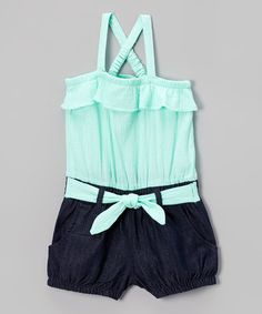 Another great find on #zulily! Mint Ruffle Top Layered Romper - Infant & Toddler by Limited Too #zulilyfinds
