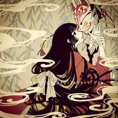 xxxholic by Hemllock on DeviantArt Zorro Tattoo, Japanese Fox Mask, Kitsune Mask, Xxxholic, Japanese Folklore, Card Captor, Naruto, Cartoon Styles, Manga Anime